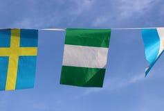 La mini bandera del carril de la tela de Nigeria, la bandera tiene tres bandas verticales de verde, blancas, verde imagen de archivo