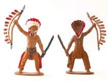 La mini figura juguete del vaquero indio del modelo/aisló blanco Fotografía de archivo