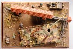 La miniatura con tedesco forza i tempi di WWII Vista superiore Fotografia Stock