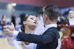 La Minsk-Bielorussia, il 23 febbraio: La coppia non identificata di ballo esegue Immagini Stock Libere da Diritti