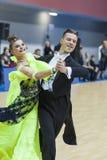 La Minsk-Bielorussia, il 23 febbraio: La coppia non identificata di ballo esegue Immagini Stock