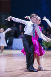 La Minsk-Bielorussia, il 18 ottobre 2014: Coppie non identificate Perfo di ballo Fotografie Stock Libere da Diritti