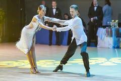 La Minsk-Bielorussia, il 18 ottobre 2014: Coppie non identificate Perfo di ballo Fotografie Stock