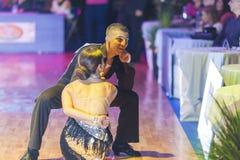 La Minsk-Bielorussia, il 18 ottobre 2014: Coppie non identificate Perfo di ballo Immagini Stock Libere da Diritti