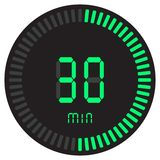 La minuterie numérique verte 30 minutes chronomètre électronique avec un cadran de gradient mettant en marche l'icône de vecteur, illustration libre de droits