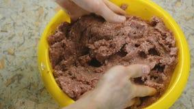 La miscela delle mani del ` s dell'uomo del primo piano trita la carne in bacino giallo Fresco triti Movimento lento archivi video