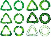 La miscela di ricicla le icone Fotografia Stock Libera da Diritti