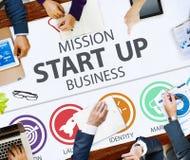 La misión comienza para arriba el lanzamiento Team Success Concept del negocio Fotos de archivo