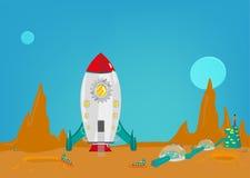 La misión en otro planeta como estropea con una pequeña colonia de hombres de la tierra Clip art Editable stock de ilustración