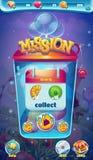 La misión móvil del GUI del mundo dulce recoge la ventana Imagenes de archivo