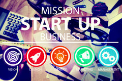 La misión comienza para arriba el lanzamiento Team Success Concept del negocio Imágenes de archivo libres de regalías
