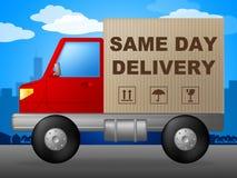 La misma entrega del día representa el envío y la distribución rápidos Foto de archivo libre de regalías