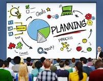 La mission de buts de recherche de stratégie de planification relient le concept de processus images stock