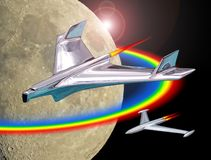 La mission spatiale ?quip?e ? trouble la galaxie de l'espace de voyage d'exploration de vaisseaux spatiaux de fus?es de vol photos stock