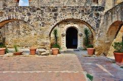 La missione San José y San Miguel de Aguayo a San Antonio, il Texas fotografia stock libera da diritti