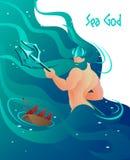La mitología de griego clásico plana se escribe a dios del mar libre illustration