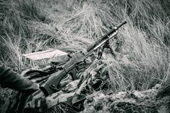 La mitrailleuse des forces terrestres de l'Allemagne de la production tchèque du bl photos stock