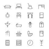 La mobilia domestica assottiglia le icone Fotografia Stock Libera da Diritti