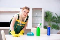 La mobilia professionale dell'appartamento di pulizia del pulitore immagine stock