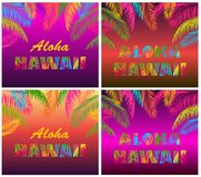 La moda de la camiseta imprime la variación con las letras de Aloha Hawaii y las hojas de palma coloridas en el fondo de neón de  stock de ilustración
