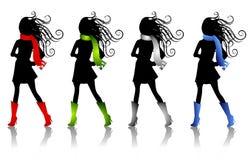 La mode de l'hiver silhouette 3 Images libres de droits