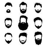 La mode des hommes, silhouette, style, ensemble de barbes, illustration de vecteur Photographie stock libre de droits