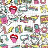 La mode 90s raccorde la rétro collection d'éléments Image libre de droits