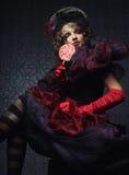 La mode a tiré de la femme dans le type de poupée Photos stock