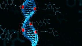 La modification biologique GMO de gène d'ingénierie a génétiquement modifié l'organisme Concept d'ADN de conception Fond foncé illustration de vecteur