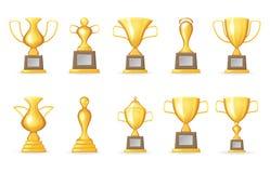 La mofa aislada fijada los iconos premiados de la plantilla de la taza del trofeo del símbolo de Victory Award Realistic 3d para  Foto de archivo