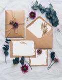 La mofa encima de la invitación creativa de la boda fijó con la rama del eucalipto imagen de archivo