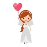 La moglie sveglia con cuore a forma di pompa il carattere dell'avatar Immagini Stock Libere da Diritti