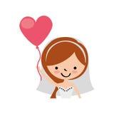 La moglie sveglia con cuore a forma di pompa il carattere dell'avatar Fotografie Stock
