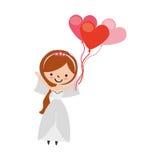 La moglie sveglia con cuore a forma di pompa il carattere dell'avatar Immagine Stock