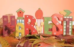 La moisson de mot symbolisant l'automne photographie stock libre de droits