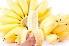 La moitié a épluché la banane d'oeufs et la main des bananes d'or sur la nourriture saine de fruit de Pisang Mas Banana de fond b Photographie stock