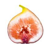 La moitié des figues mûres portent des fruits d'isolement sur le backgroun blanc Photographie stock libre de droits