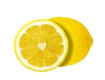 La moitié du coeur de citron d'isolement Images libres de droits