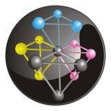 La molécula compleja con CMYK coloreó los átomos con el bl Imagen de archivo