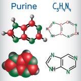 La molécula de la purina, es un compuesto orgánico aromático heterocíclico ST stock de ilustración