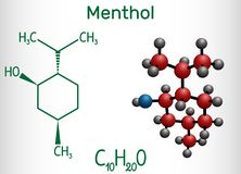 La molécule de menthol, est trouvée en menthe poivrée et menthe verte Il donne une sensation de refroidissement, soulage la doule illustration stock