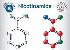 La molécule du nicotinamide NAA, est une vitamine B3 trouvée en nourriture, utilisation illustration stock
