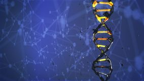 La molecola del DNA si distrugge e subisce una mutazione la rotazione stock footage