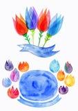La molla dell'acquerello fiorisce, tulipano stilizzato acquerello, motivo floreale della natura Fotografia Stock