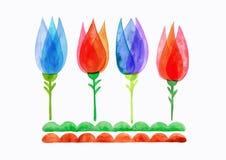 La molla dell'acquerello fiorisce, tulipano stilizzato acquerello, motivo floreale della natura Fotografia Stock Libera da Diritti