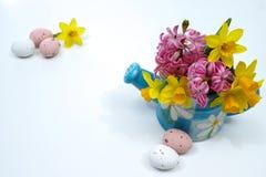 La molla rosa e gialla fiorisce in acqua blu kan, uova colorate, Fotografie Stock