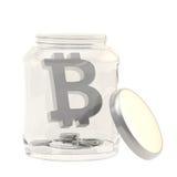 La moneda de Bitcoin firma adentro un tarro de cristal Imágenes de archivo libres de regalías