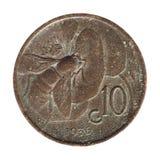 la moneda de 10 centavos, Italia aisló sobre blanco Foto de archivo libre de regalías
