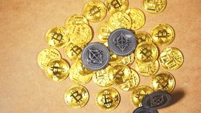 La moneda de Ethereum de la cámara lenta cae en Bitcoin minó el montón metrajes