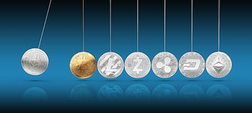 La moneda de Ethereum en cuna del ` s de Newton impulsa y acelera otros cryptocurrencies y hacia adelante y hacia atrás ilustración del vector